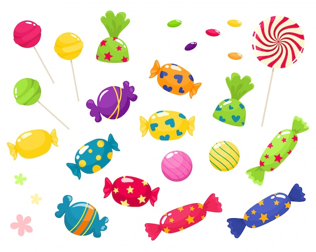 Set of bright sweets.  isolates in cartoon style on a white background.