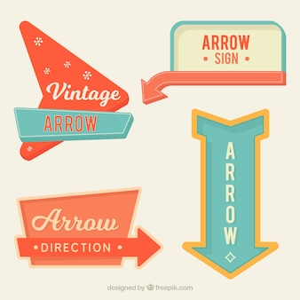 Set of bright vintage arrow signs