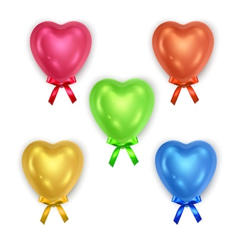 Set of bright voluminous hearts decorated with bow isolated.