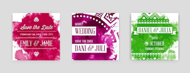 Set of bright watercolor invitations in vector