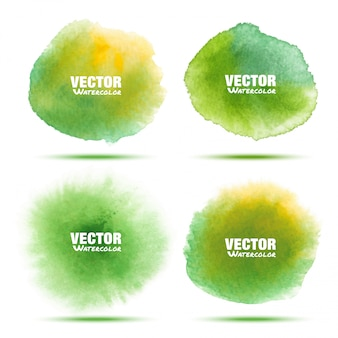 Set of bright watercolor stains