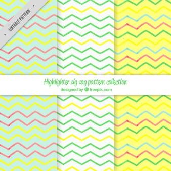 Set of bright zig-zag patterns