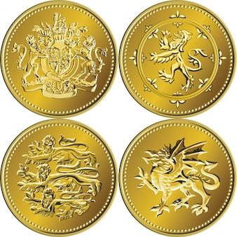 Set british money gold coin one pound with the coat