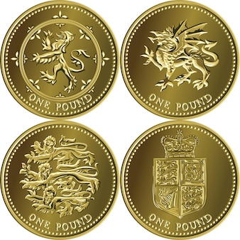 Set british money gold coin one pound