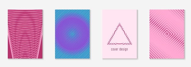 Set brochure. multiply flyer, banner, certificate, report mockup. purple and turquoise. set brochure as minimalist trendy cover. line geometric element.