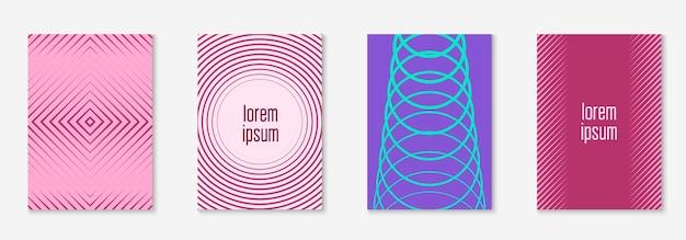 セットパンフレット。パープルとターコイズ。線形ジャーナル、本、証明書、招待状のモックアップ。パンフレットをミニマルなトレンディなカバーとして設定します。線の幾何学的要素。