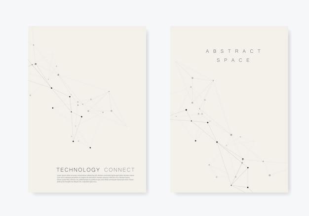 Connectでパンフレットテンプレートを設定します。抽象的な技術パターン、複合ドットとラインの背景
