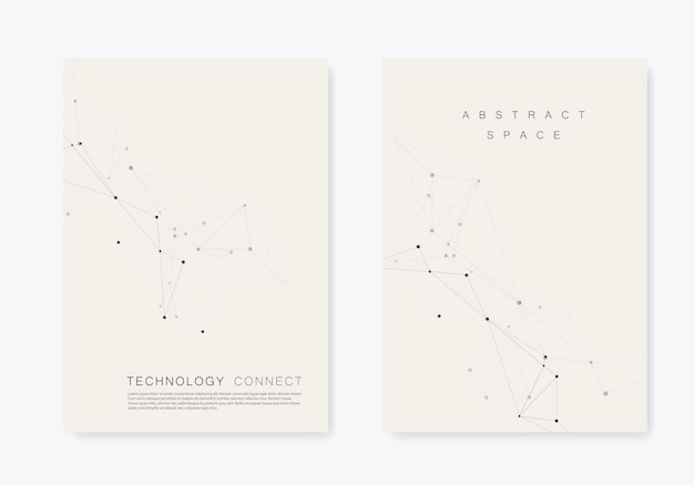 Set  brochures template with connect . abstract technology pattern, compound dots and lines background