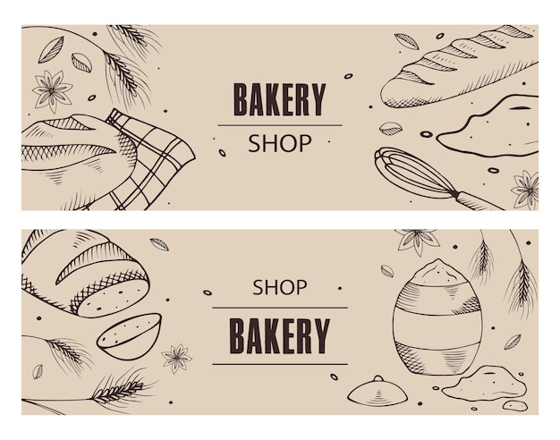 Set of brochures with bakery products.