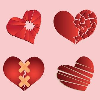 Set of broken heart / heartbreak for broken heart concept