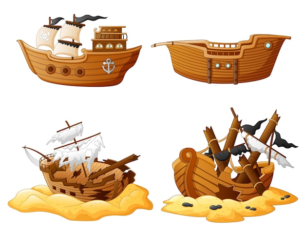 Set of broken pirate ship