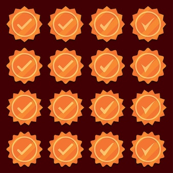Set of bronze check mark medal icons.