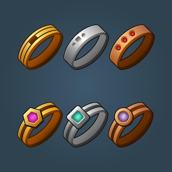 Set of bronze silver and gold rings cartoon illustration