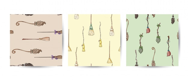 Set of broomstick doodles seamless patterns