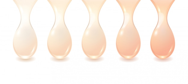 Set of brown bb cream drops isolated on white background.