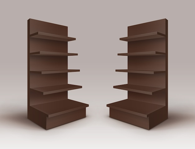 Set of brown blank empty exhibition trade stands shop racks with shelves storefronts isolated on background