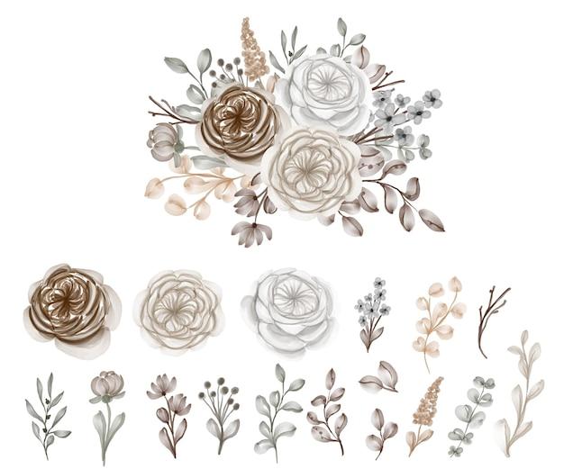 Set of brown caramel watercolor bouquet flowers