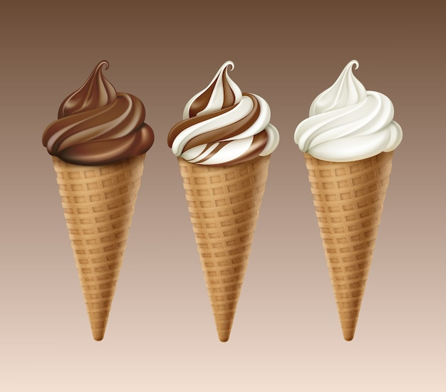 Set of brown chocolate white classic soft serve ice cream waffle cone close up isolated on background