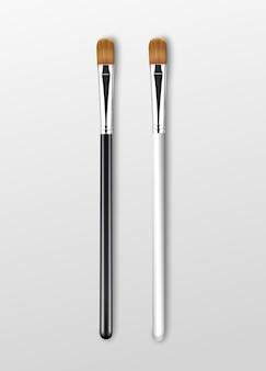 Set of brown clean professional makeup concealer eye shadow brushes