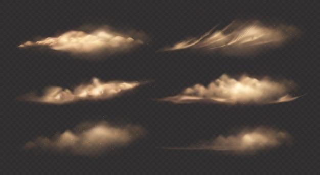 Set of brown clouds