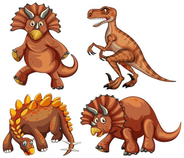 Set of brown dinosaur cartoon character