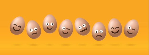 Set of brown easter eggs with emojis character