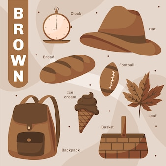 Set of brown objects and vocabulary words in english