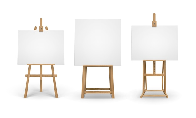 Set of brown sienna wooden easels with empty blank canvases