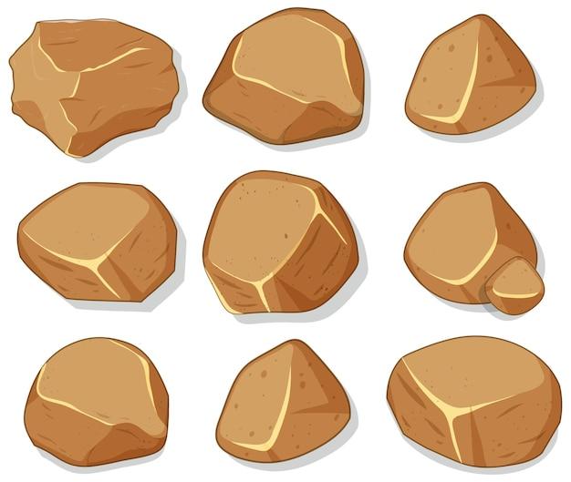 Set di pietre marroni isolati su sfondo bianco