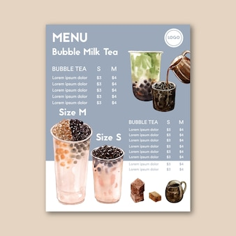 Set brown sugar bubble milk tea and matcha menu, ad content vintage, watercolor illustration
