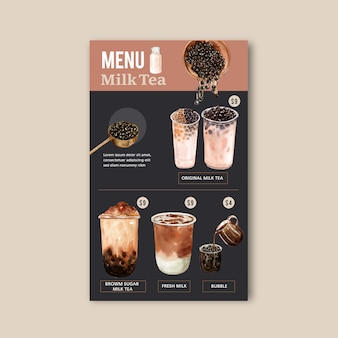 Set brown sugar bubble milk tea menu, ad content vintage, watercolor illustration