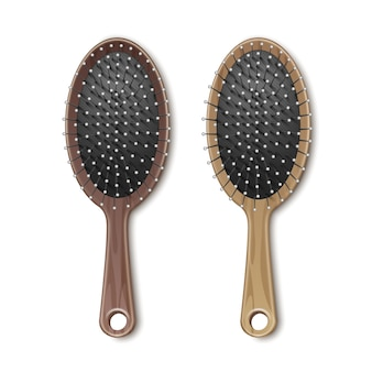 Set of brown wooden grooming hair brush comb top view isolated on white background