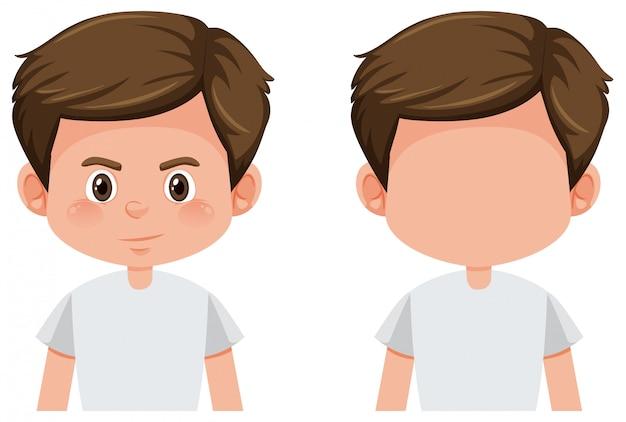 Set of brunette boy character
