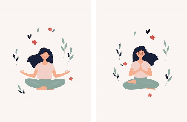 Set of  brunette woman sitting in lotus position with leaves and flowers