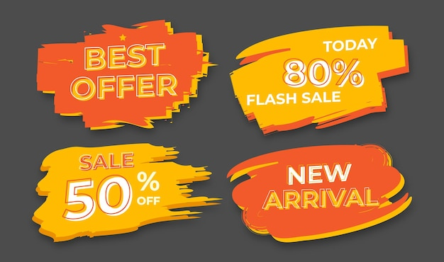 Set of brush blob discount sale tag banner. set promotional discount tags.