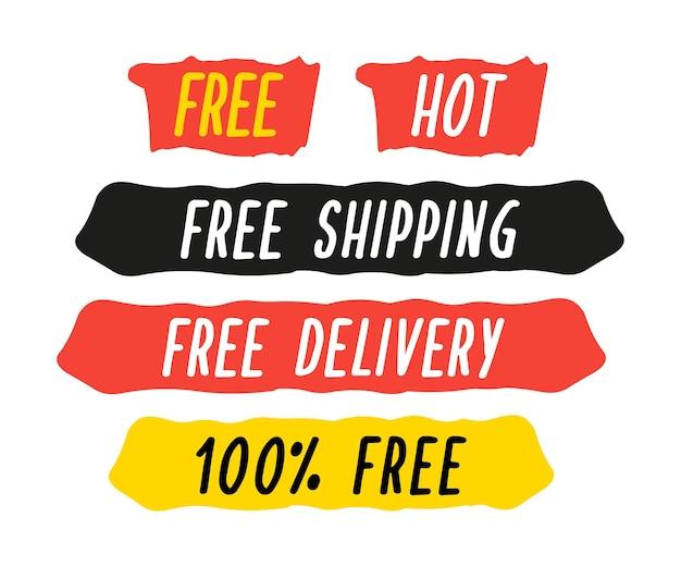 할인에 대한 광고 슬로건으로 브러시 스트라이프를 설정합니다. 벡터 일러스트 레이 션. 할인 및 무료 배송. 흰색 절연 제한 제공 레이블