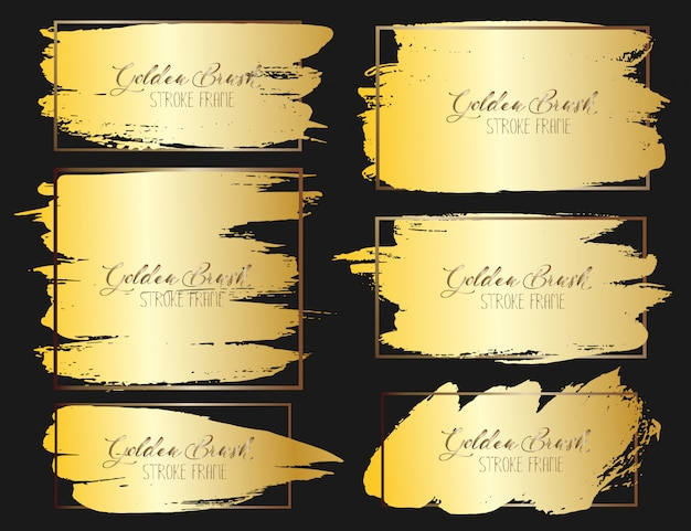Set of brush stroke frame, gold grunge brush strokes. vector illustration.