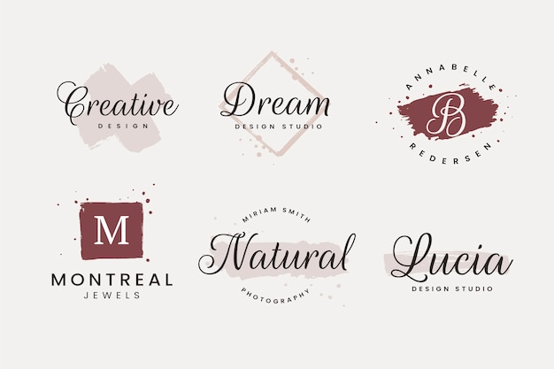 Set of brush strokes feminine logo design templates