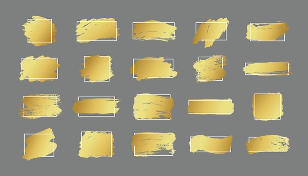 Set of brush strokes. grunge design elements. golden paint, ink, brushes, lines, grungy. dirty artistic  boxes, frames. gold lines isolated . abstract gold glittering textured art illustration.
