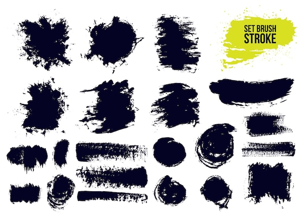 Set of brush strokes text boxes.