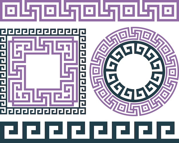 Set of brushes to create the greek meander patterns, and round and square frames.