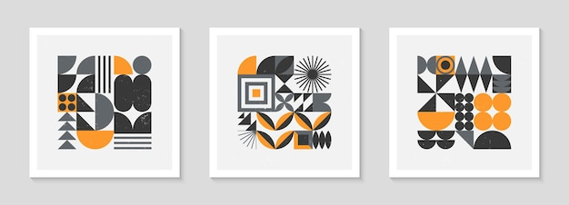 Set of bstract bauhaus geometric pattern backgrounds.trendy minimalist geometric design with simple shapes and elements.mid century modern artistic vector illustrations.scandinavian ornament.
