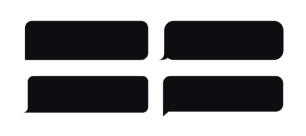 Set of bubble messages template black style for website mobile chat application chat speech bubble