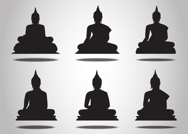 Set of buddha silhouettes on the white background