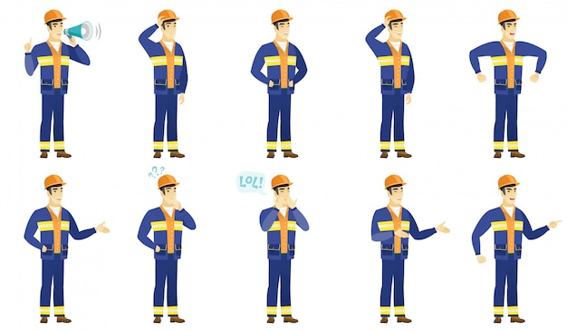 Set of builder characters.