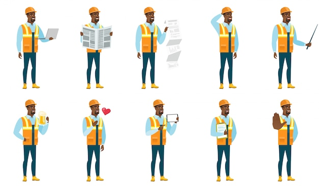 Set of builder characters
