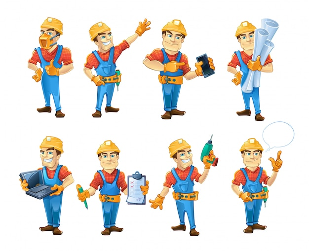 Set of builders or handymans in action poses
