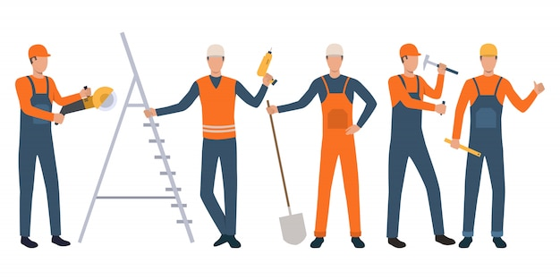 Set of builders and handymen standing, holding tools and working