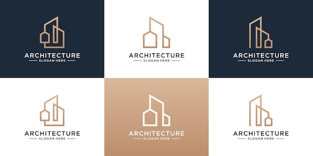Set of building architecture logo template. minimalist real estate with unique line art style logo collection.