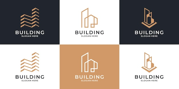 Set of building architecture logo template.